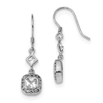 925 Sterling Silver Rhodium-plated CZ Square Halo Dangle Earrings