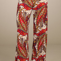 Womens Paisley Print Red Multi Colored Wide Leg Fold Over Palazzo Pants