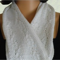 Hand Knit Cotton White Scarf