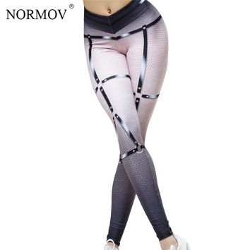 NORMOV Fashion Push Up Workout Leggings Punk 3D Digital Printed Leggings Breathable Slim Stretch Leggins Women