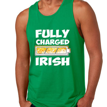 Men's Tank Top Fully Charged Irish St Patrick's Day Funny Top