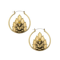 Antique Gold Ganesha Inca Earrings (PAIR)
