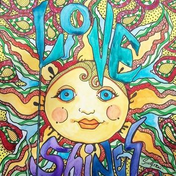 Singleton Hippie Art Original Love Shines by justgivemepeace
