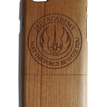 Jedi Academy may the force be with you Star Wars fan art laser print Iphone 5 /5s/ 6/6s wooden engraved bamboo phone case cover