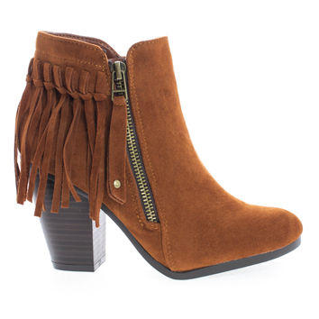 Gail26 Coral F-Suede Coral Suede Cowgirl Back Fringe Zip Up Chunky Stacked Heel Ankle Boots