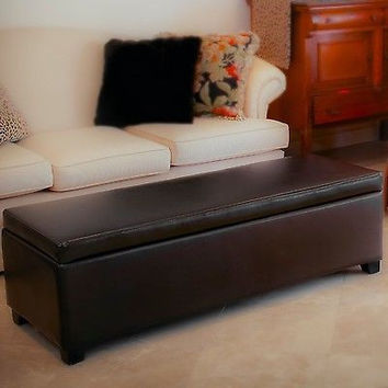 Couch Ottoman Furniture Footstool Leather Storage Foldable Chocolate Brown