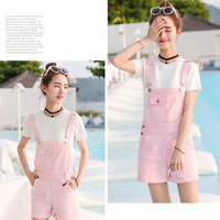 College Students wind suspenders denim overalls piece casual shorts candy colors