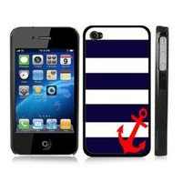 Amazon.com: Blue and White Striped Sailer Anchor Snap-On Cover Carrying Case for iPhone 4/4S - Sea Life Captain: Cell Phones & Accessories