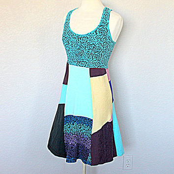 Patchwork Hippie Boho Women Dress / Upcycled Recycled Eco Tank Top Clothing