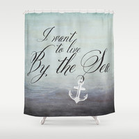 I want to live by the sea - black Shower Curtain by Mockingbird Avenue
