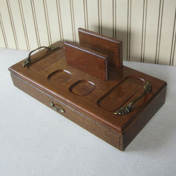 Mens Valet Box Vintage Wooden Butler Box with Drawer Retro Mid Century Mens Catch All Dresser Box