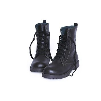 Round Toe Combat Boots with Lace up Closure