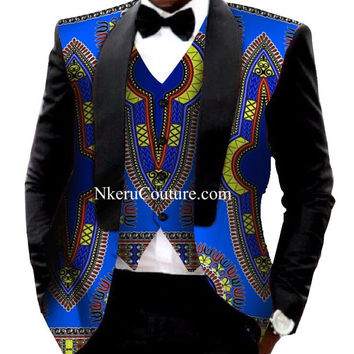 Traditional African Clothing Denim Blazer Men Casual Style African Print Dashiki  Suit Jackets WM108