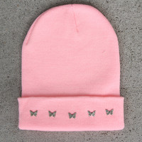 Pink Butterfly Studded Beanie