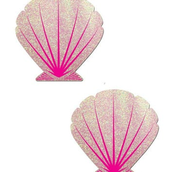 ANIMATED MERMAID SCALE PATTERN SHELL PASTIES (Pink)