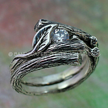 Set with MOISSANITE, KIJANI Single Leaf - Engagement Ring, Wedding Band Set in Sterling Silver