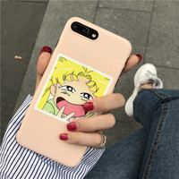For iPhone 7 7plus case beautiful girl anthomaniac cartoon case for iphone 6 6S Plus 6Plus fundas carcaza soft Korean female