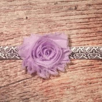 Purple Shabby Damask Headband / Baby Headband / Baby Girl Headband / Girls Hair Bows / Baby Bows / Purple Headband / Black and White Damask