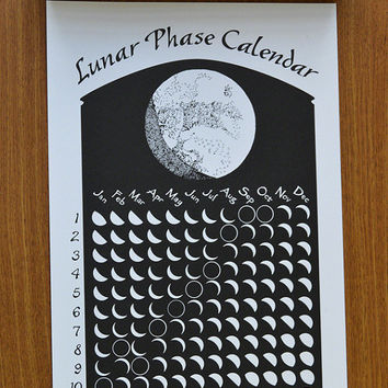 2016 Lunar Phase Calendar in Basic Black