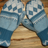 Sweater Mittens, made from upcycled recycled sweaters, shades of light blue nordic design, fleece lined, so warm and cozy