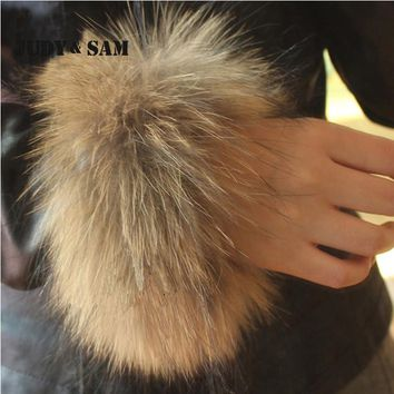 Wholesale Natural Color Genuine Fur Cuffs Real Raccoon Fur Boot Cuff Sleeve For Downcoat Women Winter Coat
