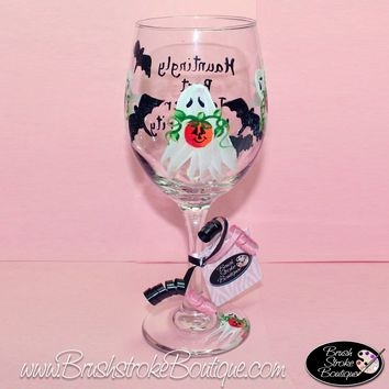 Hand Painted Wine Glass - Ghosts'N'Bats - Original Designs by Cathy Kraemer