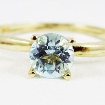 Aquamarine Solitaire Ring 14k Yellow Gold, Solid 14 Karat Gold Ring, March Birthstone Ring, 14k Gold Aquamarine Solitaire Ring