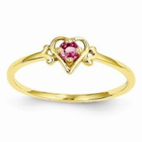 14k Yellow Gold Genuine October Birthstone Heart Ring