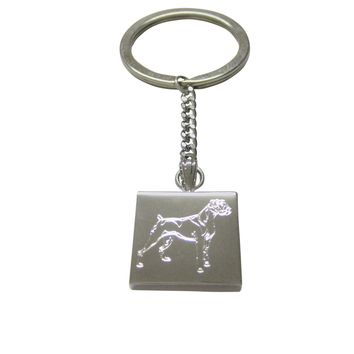 Silver Toned Etched Boxer Dog Keychain