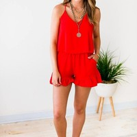 Charleston Streets Ruffle Bottom Tomato Romper