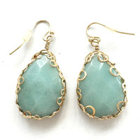 Turquoise and Gold Amazonite Earrings