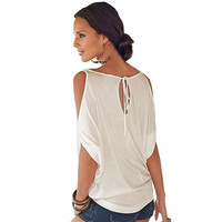 Women Casual T Shirt Sexy Batwing Sleeve Top Summer Basic Female T-shirt Ladies Plus Size Loose Tops 1WTE002