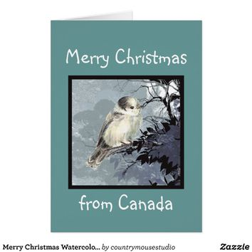 Merry Christmas Watercolor Canada Grey Jay Bird Card