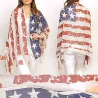 Vintage PATRIOTIC USA AMERICAN FLAG OBLONG Scarf Shawl wrap Long 4th of july