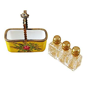 Yellow Basket With 3 Bottles Limoges Boxes