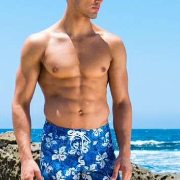 Sauvage Maui Blue Floral Boardwalk Surf Shorts