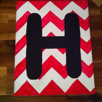 Chevron canvas painting with initial by KraftyMom15 on Etsy