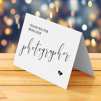Thank you for being our photographer card printable, Thank you to wedding photographer card, Small wedding thank you card, Instant download
