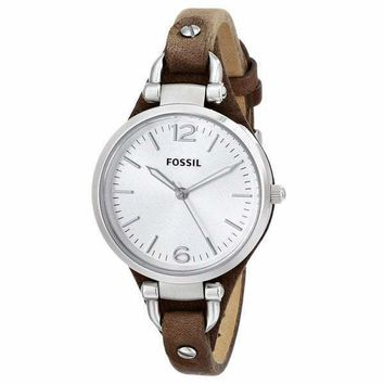 Georgia Three Hand Slim Brown Leather Fossil Watch For Women