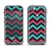 The Sharp Pink & Teal Chevron Pattern Apple iPhone 5c LifeProof Fre Case Skin Set