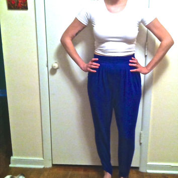 80s Stirrup Pants . High Waisted . Cobalt Blue . Vintage Counterparts . Ladies Size 10 Short