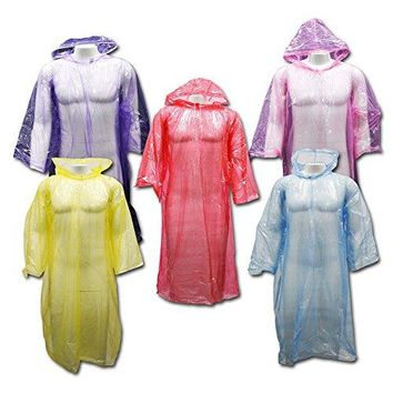 Outdoor Alchemist 5 Pack Emergency Rain Ponchos  Sleeves and Drawstring Hood,