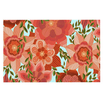 "Art Love Passion ""Flower Power"" Red Floral Decorative Door Mat"