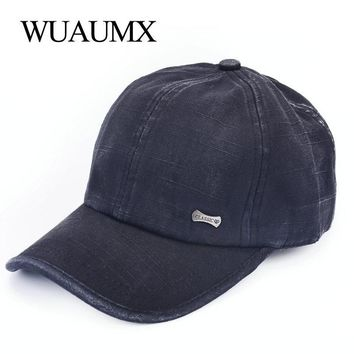 Trendy Winter Jacket Wuaumx Retro Baseball Cap Men Women's Summer Snapback Hat Solid Sun Bonnet 100% Cotton Wash Pure Cap casquette czapka z daszkiem AT_92_12