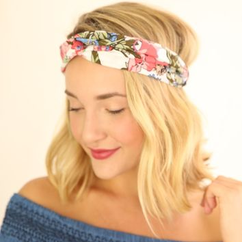 TURBAN STRETCH HEADBAND - WHITE FLORAL