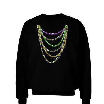 Mardi Gras Beads Necklaces Adult Dark Sweatshirt
