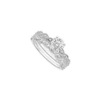 14K White Gold Semi mount Ring with Wedding Band Set 0.25ct Diamonds Not Included Center Diamond