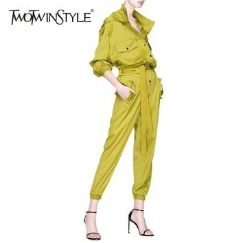 TWOTWINSTYLE Hooded Womens Jumpsuit Pockets Lace Up High Waist Long Sleeve Overalls Jumpsuit Streetwear Fashion New