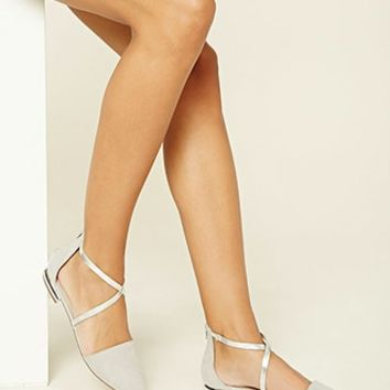 Faux Suede Strappy Flat