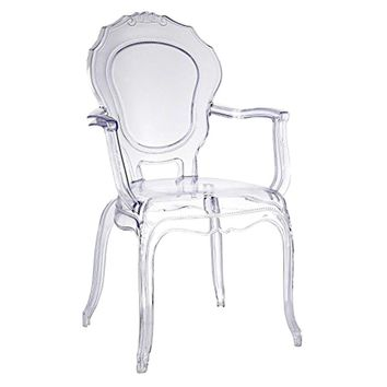 Traditional Dining Chair with Arms, Clear